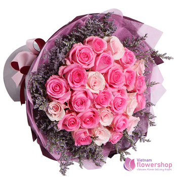 buy pink rose in vietnam flower shopp